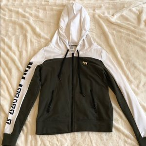 Victoria Secret forest green and white jacket